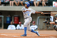 Burlington Royals left fielder Terrance Gore #4 swings at a pitch during  a game against the Greenville Astros at Pioneer Park on August 17, 2012 in Greenville, Tennessee. The Astros defeated the Royals 5-1. (Tony Farlow/Four Seam Images).