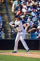 New York Yankees designated hitter Giancarlo Stanton (27) at bat during a Grapefruit League Spring Training game against the Toronto Blue Jays on February 25, 2019 at George M. Steinbrenner Field in Tampa, Florida.  Yankees defeated the Blue Jays 3-0.  (Mike Janes/Four Seam Images)