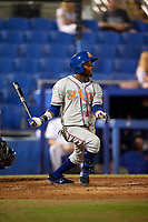 St. Lucie Mets center fielder John Mora (4) follows through on a swing during a game against the Dunedin Blue Jays on April 19, 2017 at Florida Auto Exchange Stadium in Dunedin, Florida.  Dunedin defeated St. Lucie 9-1.  (Mike Janes/Four Seam Images)
