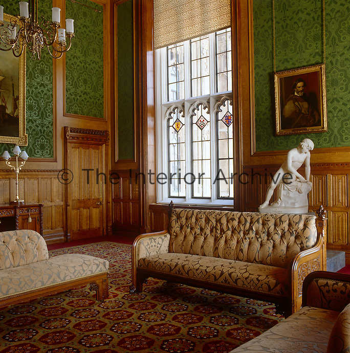 One of the rooms in the Lord Chancellor's apartments, newly decorated with green flock wallpaper and a carpet inspired by medieval floor tiles in the Victorian gothic style