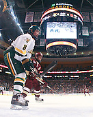 Dean Strong (Vermont - 8), Matt Greene (BC - 14) - The Boston College Eagles defeated the University of Vermont Catamounts 4-0 in the Hockey East championship game on Saturday, March 22, 2008, at TD BankNorth Garden in Boston, Massachusetts.