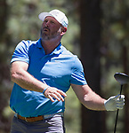 Trent Dilfer watches his shot during the ACC Golf Tournament at Edgewood Tahoe Golf Course in South Lake Tahoe on Sunday, July 14, 2019.