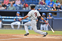 Hickory Crawdads center fielder Leody Taveras (3) swings at a pitch during a game against the Asheville Tourists at McCormick Field on July 13, 2017 in Asheville, North Carolina. The Tourists defeated the Crawdads 9-4. (Tony Farlow/Four Seam Images)