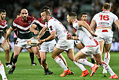 4th November 2017, Sydney Football Stadium, Sydney, Australia; Rugby League World Cup, England versus Lebanon; Josh Hodgson of England prepares to pass the ball