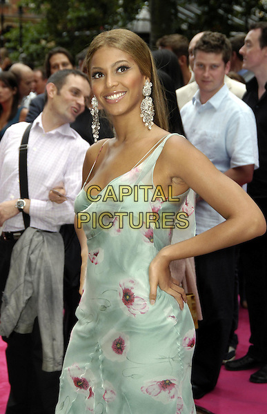 BEYONCE KNOWLES - DESTINY'S CHILD.Charlie's Angels: Full Throttle premiere, Leicester Square.www.capitalpictures.com.sales@capitalpictures.com.©Capital Pictures.charlies angels, turquoise blue dress, floaty, flowery, floral print, big diamante earrings