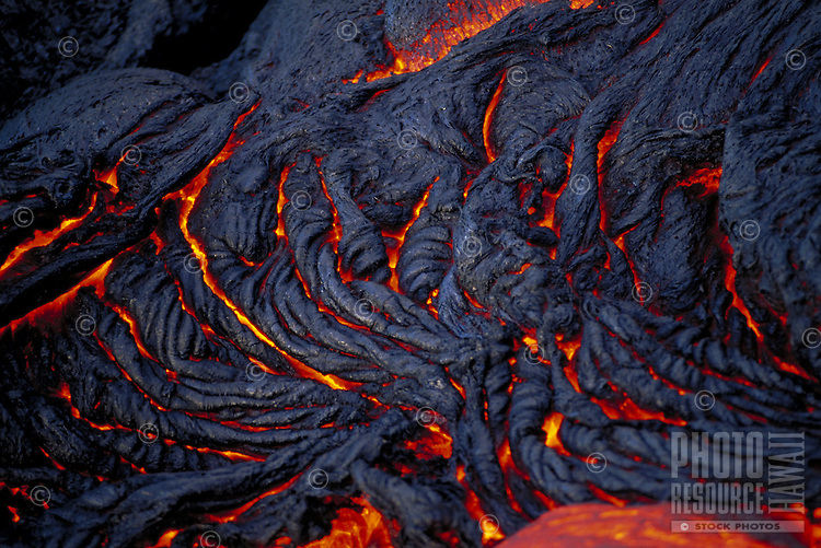 Pahoehoe lava flow, Kilauea volcano, Big Island of Hawaii