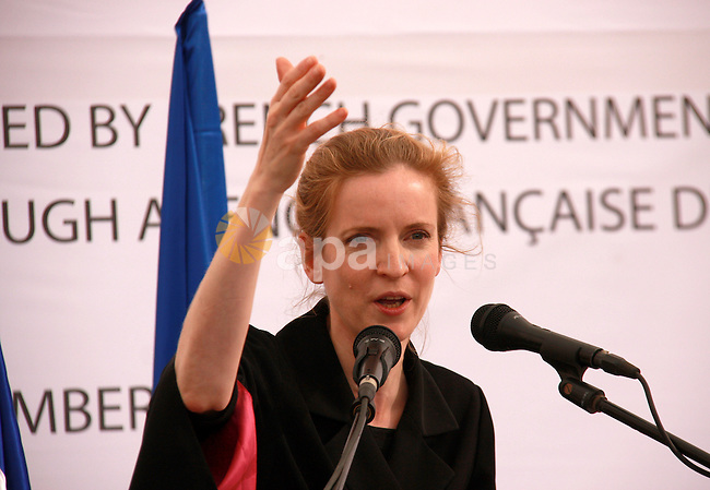 French Minister of Ecology, sustainable development, transport, and housing, Nathalia Kosciusko-Morizet, gives a speech at Maythalon village, near Jenin City,the West Bank, 01 November 2011. Palestinian Prime Minister Salam Fayyad visited the village with Ms Kosciusko- Morizet to inaugurate the largest water supply scheme in the West Bank. The project reportedly cost 55 million shekels and was funded by France. Photo by Wagdi Eshtayah