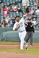 Jefry Marte (24) of the Salt Lake Bees on defense against the Sacramento River Cats in Pacific Coast League action at Smith's Ballpark on April 7, 2016 in Salt Lake City, Utah. Salt Lake defeated Sacramento 5-2. (Stephen Smith/Four Seam Images)