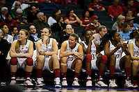 LOS ANGELES, CA - March 11, 2011:  Stanford starters Lindy La Rocque, Kayla Pedersen, Jeanette Pohlen, Chiney Ogwumike and Nnemkadi Ogwumike enjoy the late game action during the semi-final game of the 2011 Pac-10 Tournament game against the Arizona Wildcats at Staples Center.  Stanford won, 100-71.
