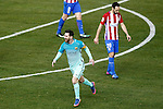 Atletico de Madrid's Juanfran Torres (r) dejected and FC Barcelona's Leo Messi celebrates goal during Spanish Kings Cup semifinal 1st leg match. February 01,2017. (ALTERPHOTOS/Acero)