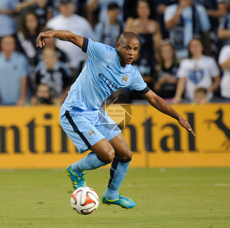 Manchester City midfielder Fernando (6) in first half action.<br /> Manchester City defeated Sporting KC 4-1 in an international friendly game played at Sporting Park in Kansas City, Kansas on Wednesday July 23, 2014.