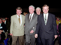 April 1992 File Photo - <br /> Union des Municipalites du Quebec convention in April - <br /> Jean Dore, Mayor of Montreal  (L), Claude Ryan, Quebec Minister of Municipal Affaires,(M), Gilles Vaillancourt, UMQ Vice-President and Mayor of Laval (R)