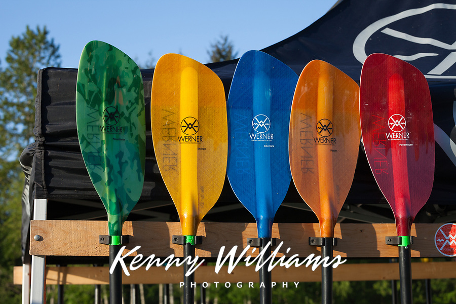 Colorful Paddles, Northwest Paddling Festival 2016, Lake Sammamish State Park, Issaquah, WA, USA.