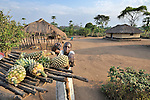 Christine Fatina, a United Methodist, cuts a pineapple she has harvested  on her family's farm in Pisak, Southern Sudan... NOTE: In July 2011, Southern Sudan became the independent country of South Sudan