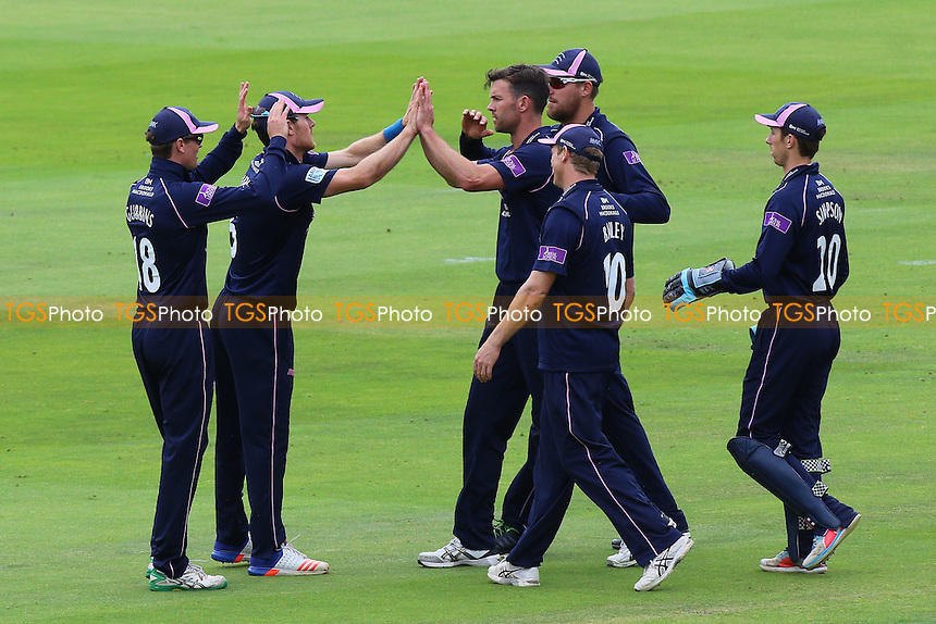James Franklin (C) of Middlesex is congratulated by his team mates after taking the wicket of Jesse Ryder during Middlesex vs Essex Eagles, Royal London One-Day Cup Cricket at Lord's Cricket Ground on 31st July 2016