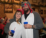 Daria and Chris during the Onesie Crawl held on Saturday night, Nov. 18, 2017 in downtown Reno.