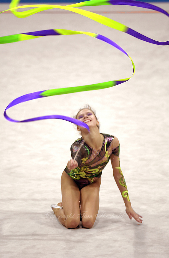 Oct 01, 2000; SYDNEY, AUSTRALIA:<br /> Yulia Raskina (BLR) performs with ribbon during rhythmic gymnastics final at 2000 Summer Olympics. Yulia took silver medal at Sydney.