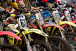 Riders prepare for the start on the course at the Unadilla Valley Sports Center in New Berlin, New York on July 16, 2006, during the AMA Toyota Motocross Championship.