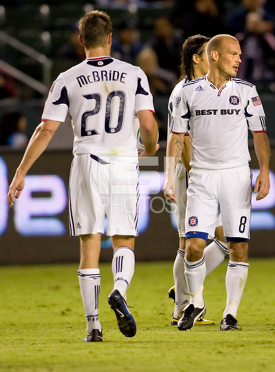 Chicago Fire veterans Brian McBride and Freddie Ljungberg in their last match together as Fire teammates. The Chicago Fire defeated CD Chivas USA 3-1 at Home Depot Center stadium in Carson, California on Saturday October 23, 2010.