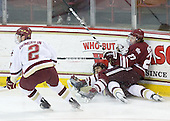 Brian Dumoulin (BC - 2), Matt Lombardi (BC - 24), Justin Braun (UMass - 27) - The Boston College Eagles defeated the University of Massachusetts-Amherst Minutemen 5-2 on Saturday, March 13, 2010, at Conte Forum in Chestnut Hill, Massachusetts, to sweep their Hockey East Quarterfinals matchup.