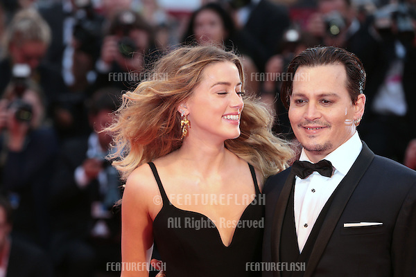 Johnny Depp &amp; wife Amber Heard at the premiere of Black Mass at the 2015 Venice Film Festival.<br /> September 4, 2015  Venice, Italy<br /> Picture: Kristina Afanasyeva / Featureflash