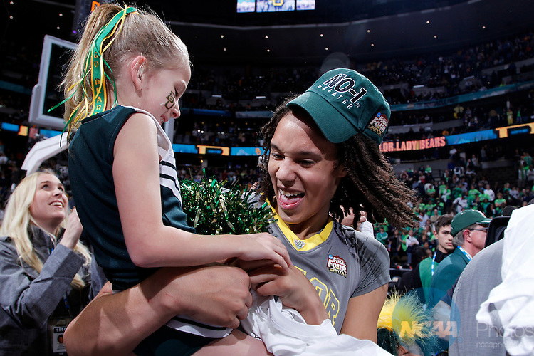 03 APR 2012:  Brittney Griner (42) of Baylor University celebrates after defeating the University of Notre Dame during the Division I Women's Basketball Championship held at the Pepsi Center in Denver, CO.  Baylor defeated Notre Dame 80-61 to win the national title.  Jamie Schwaberow/NCAA Photos