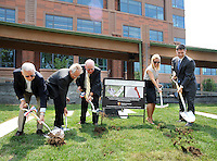 "From left, Gustavo I. Perea, artist Alan Goldstein, Bucks County Commissioner Charles H. Martin, Ryan Manion Borek  and Bucks County Commissioner Robert G. Loughery break ground for the ""Renew. Resolve. Remember."" 9/11 Memorial sculpture, which is incorporating an I-beam from the World Trade Center at the Bucks County Justice Center Wednesday July 1, 2015 in Doylestown, Pennsylvania. (Photo by William Thomas Cain)<br /> <br /> Ryan Manion Borek (right) speaks at the groundbreaking for the ""Renew. Resolve. Remember."" 9/11 Memorial sculpture, which is incorporating an I-beam from the World Trade Center at the Bucks County Justice Center Wednesday July 1, 2015 in Doylestown, Pennsylvania. On the left is  (left) and Bucks County Commissioner Robert G. Loughery. (Photo by William Thomas Cain)"