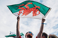 Picture by Russell Ellis/russellis.co.uk/SWpix.com - image archived on 25/04/2019 Cycling Tour de France 2018 - Team Sky at the Tour de France - STAGE 21: HOUILLES - PARIS Champs-Elysées 29/07/2018<br /> - Welsh Fans