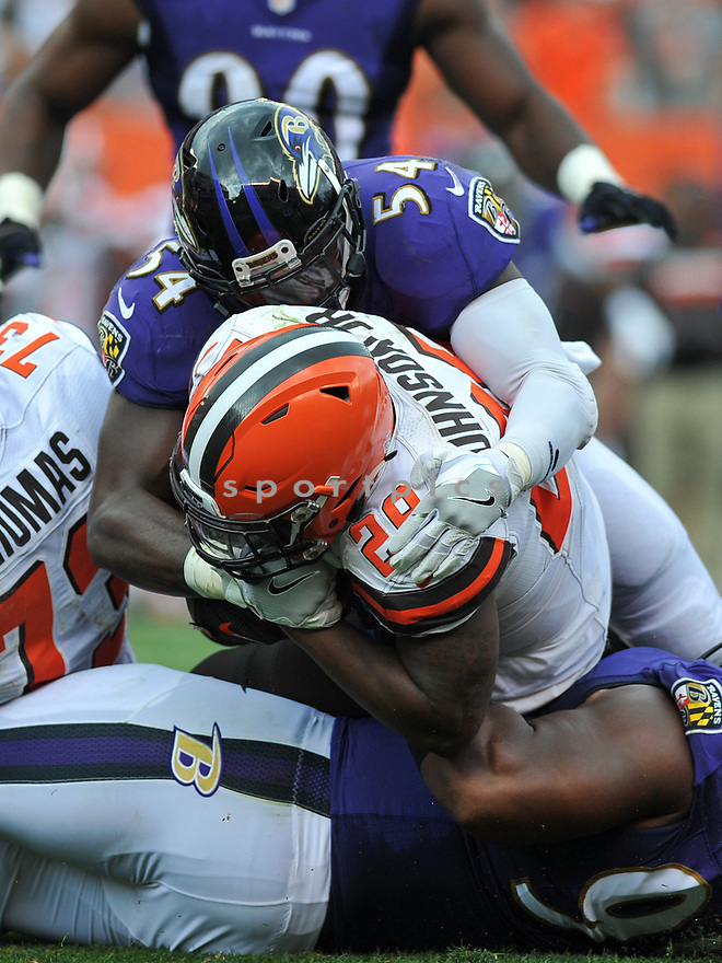 CLEVELAND, OH - JULY 18, 2016: Linebacker Zachary Orr #54 of the Baltimore Ravens tackle running back Duke Johnson #29 of the Cleveland Browns in the second quarter of a game on July 18, 2016 at FirstEnergy Stadium in Cleveland, Ohio. Baltimore won 25-20. (Photo by: 2017 Nick Cammett/Diamond Images)  *** Local Caption *** Zachary Orr; Duke Johnson(SPORTPICS)