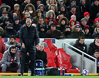 11th March 2020; Anfield, Liverpool, Merseyside, England; UEFA Champions League, Liverpool versus Atletico Madrid;  Atletico Madrid manager Diego Simeone reacts nervously as his team hold their lead late in the game