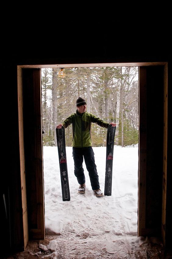 Inventor David Ollila with his Marquette Backcountry Ski near Marquette Michigan.
