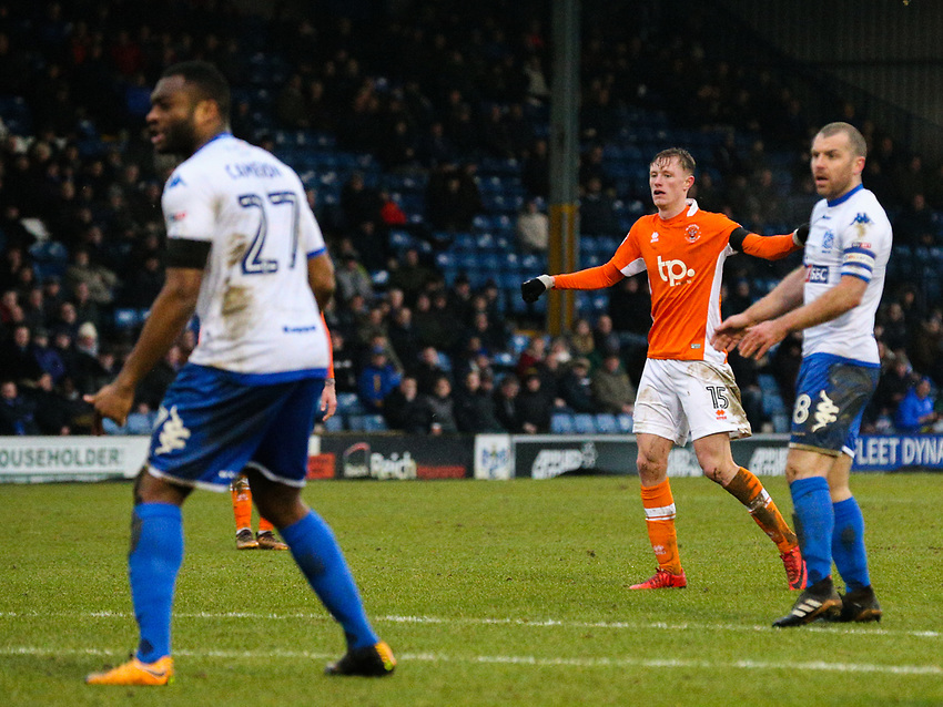 Blackpool's Sean Longstaff watches his shot find the corner to make the score 1-0<br /> <br /> Photographer Alex Dodd/CameraSport<br /> <br /> The EFL Sky Bet League One - Bury v Blackpool - Saturday 3rd February 2018 - Gigg Lane - Bury<br /> <br /> World Copyright &copy; 2018 CameraSport. All rights reserved. 43 Linden Ave. Countesthorpe. Leicester. England. LE8 5PG - Tel: +44 (0) 116 277 4147 - admin@camerasport.com - www.camerasport.com
