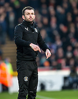 Nathan Jones manager of Luton Town during the Sky Bet League 2 match between Wycombe Wanderers and Luton Town at Adams Park, High Wycombe, England on the 21st January 2017. Photo by Liam McAvoy.