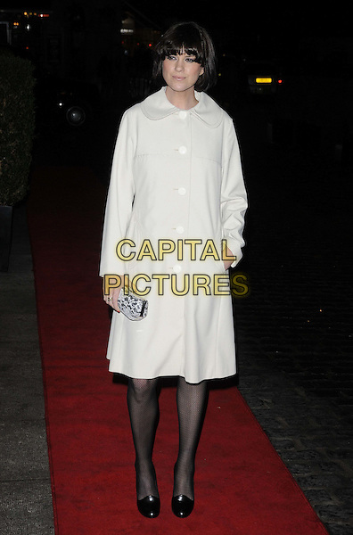 Dawn Porter.Daily Mail Inspirational Woman of The Year Awards at the Marriott Grosvenor Square Hotel, London, England..January 18th, 2012.full length white coat hand in pocket clutch bag.CAP/CAN.©Can Nguyen/Capital Pictures.