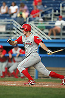 August 3rd 2008:  Center fielder Brandon Haislet of the Williamsport Crosscutters, Class-A affiliate of the Philadelphia Phillies, during a game at Dwyer Stadium in Batavia, NY.  Photo by:  Mike Janes/Four Seam Images