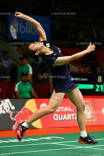 Sayaka Takahashi (JPN), AUGUST 12, 2015 - Badminton : TOTAL BWF World Championships 2015 Women's Doubles 2nd round match at Istora Senayan Arena, Jakarta, Indonesia. (Photo by Shingo Ito/AFLO SPORT)