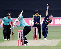 Adam Milne of Kent bowls to Rory Burns during the Vitality Blast south group game between Kent Spitfires and Surrey at the St Lawrence ground, Canterbury, on Fri July 20, 2018