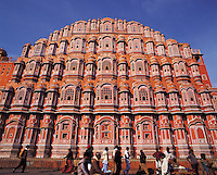 The multi-storeyed facade of the Palace of the Winds in the Pink City, Jaipur, Indi