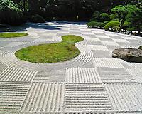 Flat garden (hira niwa) sand racked for moon viewing festival (O-Tsukimi) in checker board pattern in the Portland Japanese Garden