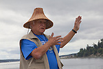 Canoe Journey, Paddle to Nisqually, 2016, Marlin Holden, Executive Director of the Jamestown S'Kallam Tribe welcomes Northwest tribal canoes landing, Port Townsend, Fort Worden, en route to Olympia, Washington State, Olympic Peninsula, Puget Sound, Salish Sea, USA,