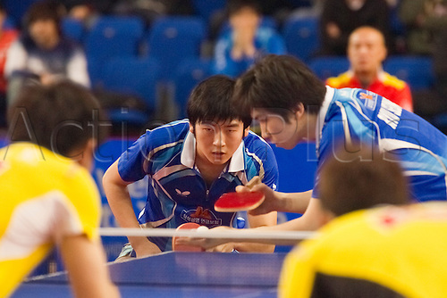 29.01.2011 English Open ITTF Pro Tour Table Tennis from the EIS in Sheffield. Jike Zhang and Xin Xu of China against Min Seung Ryu and Hyun Deok Seo of Korea