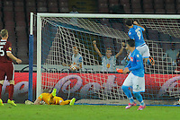 Gonzalo Higuain   celebrates after scores  during the Europa League   soccer match between SSC Napoli and Sparta Praha  at  the San Paolo   stadium in Naples  Italy , september 18 , 2014