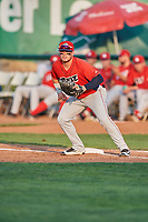 Connor Fitzsimons (14) of the Orem Owlz on defense against the Ogden Raptors at Lindquist Field on August 3, 2018 in Ogden, Utah. The Raptors defeated the Owlz 9-4. (Stephen Smith/Four Seam Images)