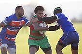 Lolohea Loco and Sefulu Punatai tackle Akariva Niubalavu. Counties Manukau Premier Club Rugby game between Waiuku and Ardmore Marist, played at Waiuku on Saturday June 4th 2016. Ardmore Marist won 46 - 3 after leading 39 - 3 at Halftime. Photo by Richard Spranger.