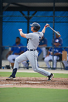 GCL Tigers West Cole Zabowski (9) bats during a Gulf Coast League game against the GCL Blue Jays on August 3, 2019 at the Englebert Complex in Dunedin, Florida.  GCL Blue Jays defeated the GCL Tigers West 4-3.  (Mike Janes/Four Seam Images)