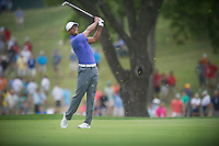Tiger Woods nails his approach into the 17th green during the opening round of the US PGA Championship at Valhalla (Photo: Anthony Powter) Picture: Anthony Powter / www.golffile.ie