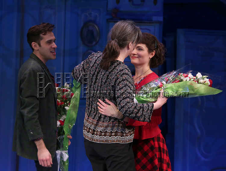 Adam Chanler-Berat, Pam MacKinnon and Phillipa Soo during the Broadway Opening Night Performance Curtain Call for 'Amelie' at the Walter Kerr Theatre on April 3, 2017 in New York City