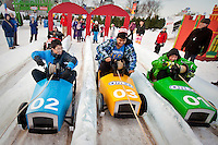 (From left to right) Michael Shiozaki, Michal Bian, Nadim Lalani and Morgan Young, from Toronto, take part into the Carnaval de Quebec winter Carnival in Quebec City Wednesday February 13, 2013. The Carnaval de Quebec is one of the biggest winter festival in the World.
