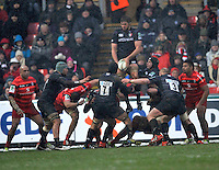 Leicester, England. Geoff Parling of Leicester Tigers wins the line out during the Heineken Cup match between Leicester Tigers and Toulouse at Welford Road on January  20. 2013 in Leicester, England..