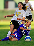 31 August 2007: University of Vermont Catamounts Caitlin McGowan (13), a Freshman from Rye, NY, battles Sara Curry (26), a Sophomore from Canyon Lake, Texas, during a game against the University of Central Arkansas Sugar Bears at Historic Centennial Field in Burlington, Vermont. The Catamounts defeated the Sugar Bears 1-0 during the TD Banknorth Soccer Classic...Mandatory Photo Credit: Ed Wolfstein Photo